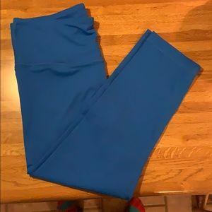 Blue leggings. Ankle length.